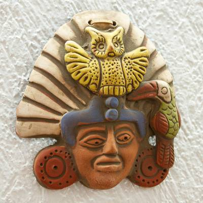 Ceramic wall plaque, 'Owl Warrior' - Oaxacan Clay Wall Plaque of Owl Warrior