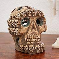Ceramic sculpture, 'Skull Celebration' (medium) - Handcrafted Earth Tone Ceramic Skull Sculpture from Mexico