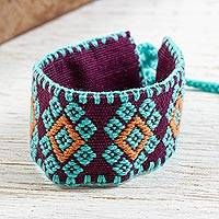 Cotton wristband bracelet, 'Aqua Diamond Halo' - Handwoven Purple and Aqua Cotton Brocade Bracelet