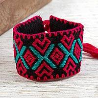 Cotton wristband bracelet, 'Hearts and Diamonds' - Red Heart and Diamond Motif Black Cotton Brocade Bracelet