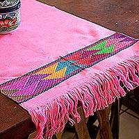 Cotton table runner, 'Pink Fiesta' - Handwoven Diamond Brocade Pink Cotton Table Runner