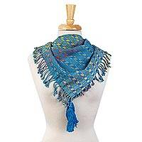Cotton scarf, 'Highlands Fiesta' - Maya Backstrap Loom Handwoven Multicolor Cotton Scarf