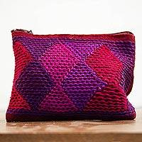 Cotton coin purse, 'Berry Diamonds' - Handwoven Red and Purple Cotton Coin Purse from Mexico