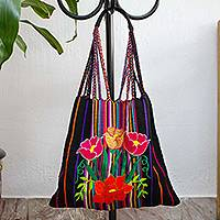 Cotton shoulder bag, 'Night Poppies' - Poppy Embroidered Handwoven Black Cotton Mexican Morral Tote
