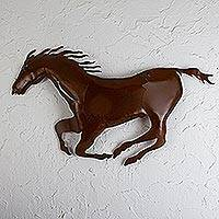 Metal wall art, 'Wild Stallion' - Steel Horse Wall Art from Mexico