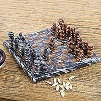 Marble and onyx mini chess set, 'Earth Challenge' - Onyx and Marble Mini Chess Set Handcrafted in Mexico