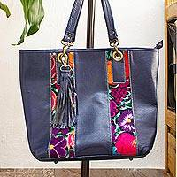 Cotton accent leather tote, 'Blue Chiapas Beauty' - Embroidered Blue Leather Tote Handbag from Mexico