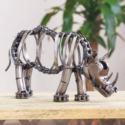 Recycled auto parts sculpture, 'Grazing Rhino' - Handcrafted Recycled Auto Parts Rhino Sculpture