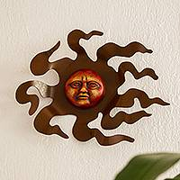 Iron and glass wall sculpture, 'Fiery Sun' - Sun Face Wall Sculpture in Iron and Ceramic from Mexico