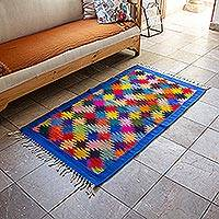 Zapotec wool area rug, 'Endless Stars' - Hand Woven Colorful Wool Area Rug from Oaxaca