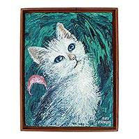 'Dreamy Cat I' - Framed Original Painting of White Cat