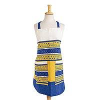 Cotton apron, 'Blue Country Kitchen' - Handwoven Blue and Yellow Cotton Apron with Pockets