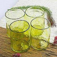 Blown glass juice glasses, 'Golden Lime' (set of 4) - 4 Handblown Golden Lime Recycled Glass Juice Glasses 8 Oz