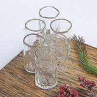 Blown glass tequila glasses, 'Crystalline Clarity' (set of 6) - Handblown Clear Recycled Glass Tequila Shot Glasses 3 Oz