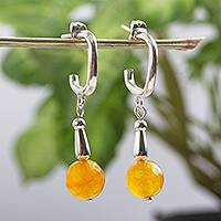 Calcite half hook earrings, 'Sunny Nostalgia' - Yellow Calcite and Sterling Silver Half Hook Earrings