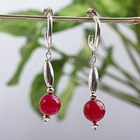 Agate half hook earrings, 'Scarlet Memories' - Modern Red Agate and Sterling Silver Half Hook Earrings