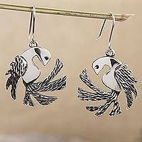 Sterling silver dangle earrings, 'Taxco Doves' - Sterling Silver Textured Dove Dangle Earrings