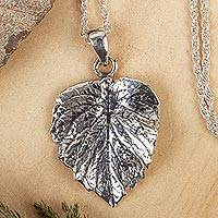 Sterling silver pendant necklace, 'Brilliant Nature' - Mexico Artisan Crafted Leaf Pendant Necklace
