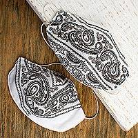 Cotton and polyester face masks, 'White Bandana' (pair) - 2 Double Layer White & Black Bandana Print Face Masks