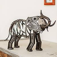 Recycled auto parts sculpture, 'Mighty Rustic Elephant' - Rustic Recycled Auto Parts Elephant Sculpture