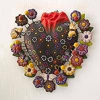 Ceramic wall art, 'Floral Butterfly Heart' - Ceramic Tree of Life Style Floral Heart Wall Sculpture