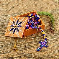 Ceramic rosary and storage box, 'Rosary of Flowers' - Hand Crafted Decorative Floral Ceramic Rosary and Box