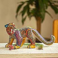Wood alebrije figurine, 'Yellow Zapotec Jaguar' - Hand Carved and Painted Ornate Yellow Jaguar Alebrije