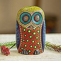 Wood alebrije figurine, 'Mystical Owl' - Colorful Hand Carved and Painted Alebrije Owl Sculpture