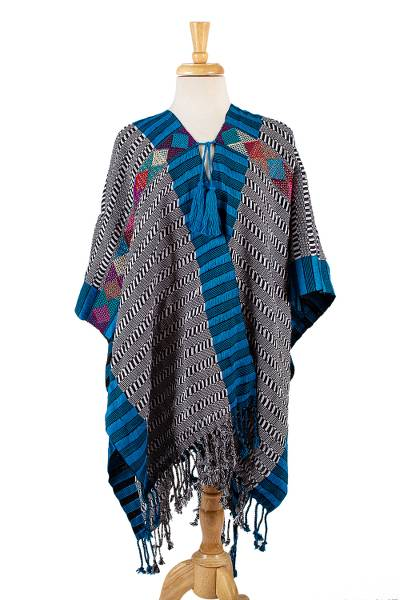 Cotton poncho, 'Highland Stripes' - Black and White Cotton Poncho with Colorful Trim