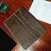 Leather portfolio, 'Bold Business' - Rich Brown Leather Portfolio from Mexico