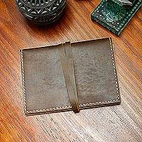 Leather journal, 'San Roque Style' - Hand Crafted Brown Leather Journal or Note Pad