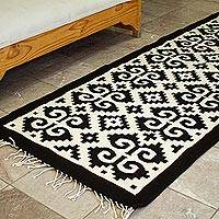 Wool runner, 'Dramatic Fretwork' - Long Black and Off-White Wool Runner Rug