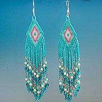 Glass beaded waterfall earrings, 'Turquoise Cascade' - Huichol Handcrafted Beadwork Waterfall Earrings