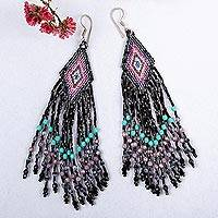 Glass beaded waterfall earrings, 'Black Cascade' - Huichol Handcrafted Black Beadwork Waterfall Earrings