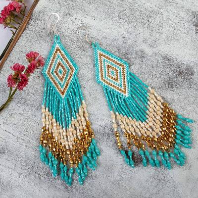 Glass beaded waterfall earrings, 'Huichol Cool Cascade' - Handcrafted Huichol Aqua Beadwork Waterfall Earrings