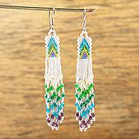 Glass beaded waterfall earrings, 'Cool Arrowheads' - Huichol White-Blue-Green-Violet Beadwork Waterfall Earrings