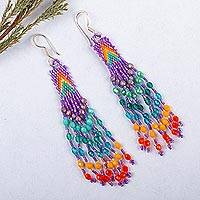Glass beaded waterfall earrings, 'Bright Arrowheads' - Huichol Purple-Blue-Green-Orange Beadwork Waterfall Earrings