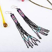 Glass beaded waterfall earrings, 'Black Diamond Talisman' - Handcrafted Black Beadwork Huichol Waterfall Earrings