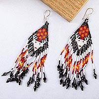 Glass beaded waterfall earrings, 'Bright Jicuri Deer' - Huichol Beadwork Long White Deer & Bright Jicuri Earrings