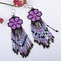 Glass beaded waterfall earrings, 'Purple Jikuri' - Purple Floral Beadwork Huichol Waterfall Earrings