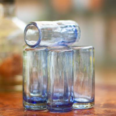 Hand blown shot glasses, 'Denim Blue' (set of 6) - Blue Blown Glass Shot Glasses from Mexico (Set of 6)