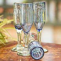 Hand blown champagne flutes, 'Denim Blue' (set of 6) - Hand Blown Blue Recycled Glass Champagne Flutes (Set of 6)