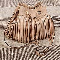 Leather shoulder bag, 'Bodacious in Buff' - Buff Leather Shoulder Bag from Mexico