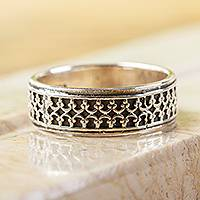 950 silver band ring, 'Elegant Fretwork' - 950 Silver Fretwork Band Ring from Mexico