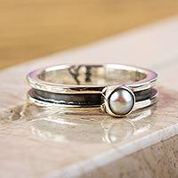 Cultured pearl band ring, 'Modern Magic' - Modern 950 Silver and Cultured Pearl Band Ring