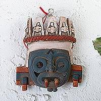 Ceramic wall accent, 'Tlaloc' - Hand Crafted Wall Mask of Aztec Deity Tlaloc