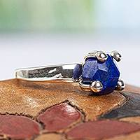 Lapis lazuli solitaire ring, 'Sea Facets' - Taxco Sterling Silver and Lapis Lazuli Solitaire Ring