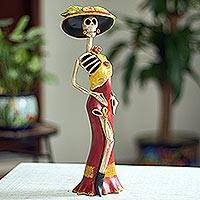 Ceramic sculpture, 'Flirtatious Catrina' - Red and Yellow Catrina Skeleton Ceramic Sculpture