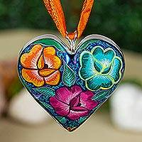 Hand painted wood pendant necklace, 'Burgeoning Heart in Purple' - Hand Painted Wood Heart Pendant Necklace