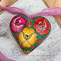 Hand painted wood pendant necklace, 'Burgeoning Heart in Mauve' - Mauve Ribbon Wood Heart Pendant Necklace from Mexico
